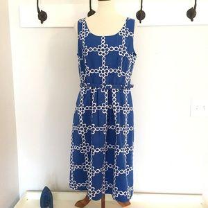 Boden Ava Blue & White Print Dress